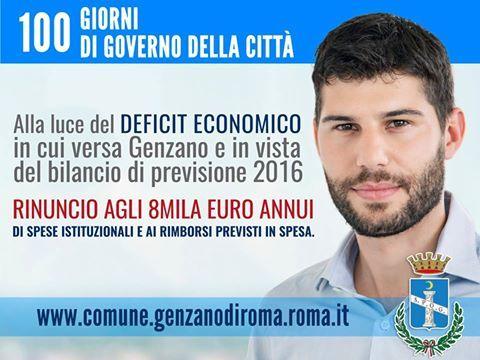 il sindaco di genzano rinuncia allo stipendio