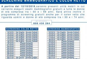 Screening colon retto e mammografie gratis ad Albano: il calendario
