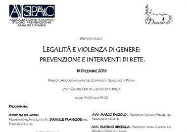 legalità e violenza di genere convegno genzano