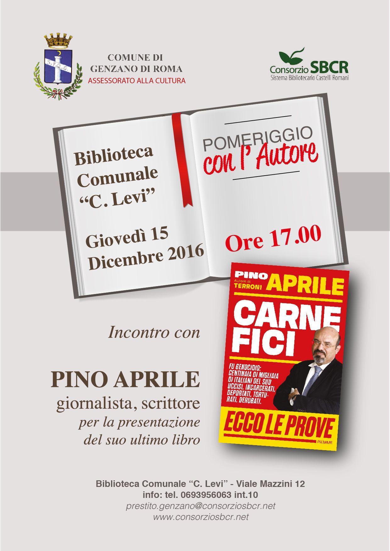 """presentazione del libro """"Carnefici"""" di Pino Aprile genzano"""