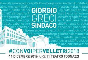 Velletri – Giorgio Greci toglie i veli sulla sua candidatura a sindaco