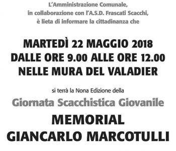 Martedì, 22 maggio arriva a Frascati la nona edizione del Memorial Marcotulli