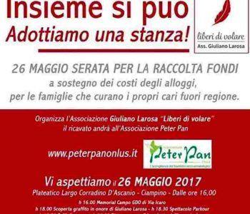 'Insieme si può, adottiamo una stanza' raccolta fondi a Ciampino promossa da Liberi di Volare, per sostenere la spesa degli alloggi per le famiglie che curano i propri cari fuori Regione