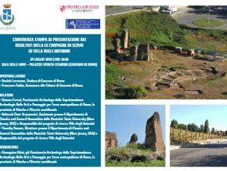 Domani, conferenza stampa a Genzano di presentazione dei risultati della IX Campagna di scavo di Villa degli Antonini
