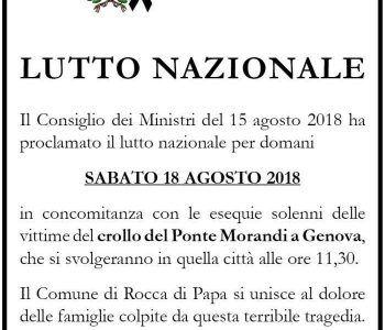 Rocca di Papa si unisce al lutto che ha colpito Genova, domani minuto di silenzio