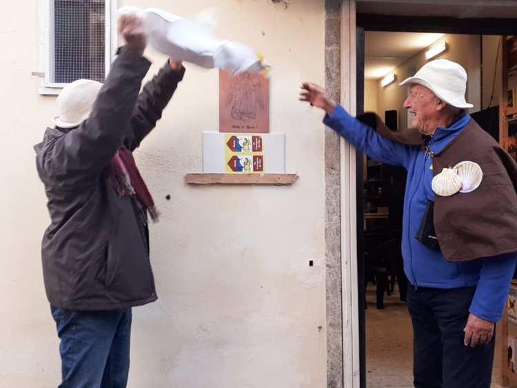 affissione della targe via francigena