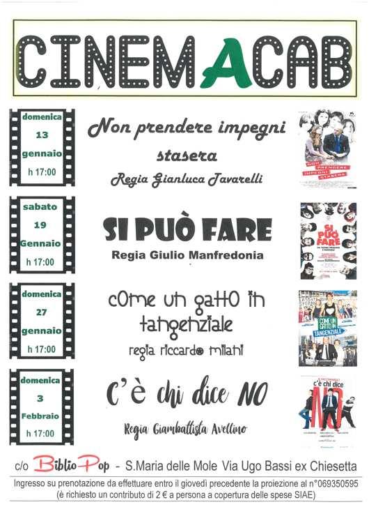 programmazione di gennaio di CinemAcab