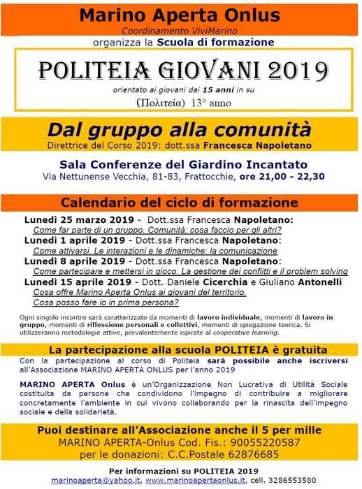 Primo incontro di Politeia Giovani 2019